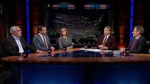 Jay Famiglietti on Real Time with Bill Maher, March 27, 2015. With Barney Frank, Zachary Quinto and S. E. Cupp