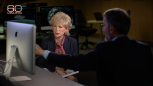 Lesley Stahl and Jay Famiglietti at NASA JPL filming on August 28, 2014