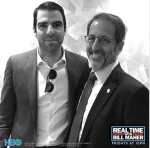 Actor Zachary Quinto and Prof. Jay Famiglietti on Real Time with Bill Maher, photo by HBO/Miles Leicher