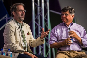 Profs. Jay Famiglietti, UC Irvine, and David Kennedy, Stanford, at the Aspen Ideas Festival 2015 Deep Dive on Drought. Photo by J. Carl Ganter, Circle of Blue