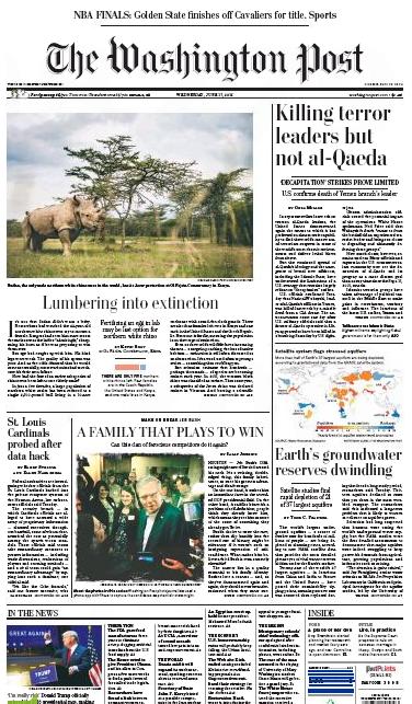 Washington Post, front page, June 17, 2015